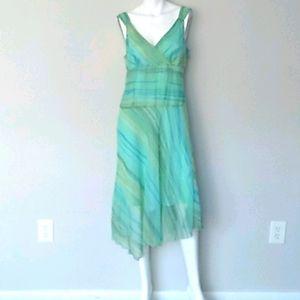 Believe Long Sheer Sleeveless Dress. Size 10